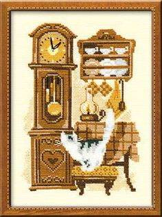 Cat with Clock  (counted cross stitch kit)  Designer/Artist: Riolis