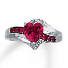 Lab-Created Ruby Ring Heart-Cut With Diamonds Sterling Silver