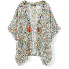 Flowy Printed Caftan ($51) ❤ liked on Polyvore featuring tops, jackets, outerwear, sweaters, pattern tops, beaded top, print top, short kaftan and caftan top