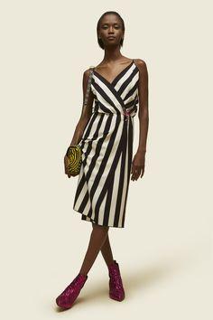 Striped Crossover Cami Dress