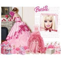 Dream Barbie, created by sparkler003 on Polyvore, with my wedding gown in pic. My daughter's dream wedding.