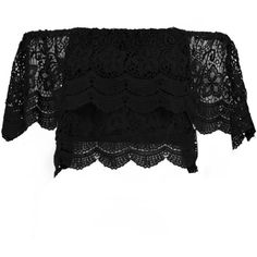 Boohoo Tia Crochet Lace Frill Bardot Top ($26) ❤ liked on Polyvore featuring tops, long sleeve crop top, flutter-sleeve top, layered tops, jersey top and basic t shirt
