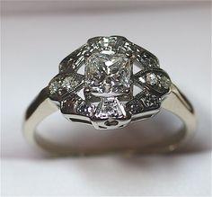 Elegant Vintage 1950's 1.02 Carat Princess Diamond Ring Diamond Rings, Diamond Engagement Rings, Diamond Cuts, Princess Cut Diamonds, Princess Rings, 1 Carat, Heart Ring, Silver Rings, Gems