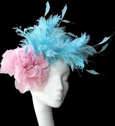Pink/Turquoise Fascinator Hat by Hatsbycressida on Etsy