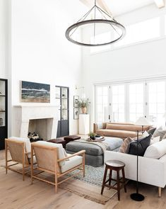 McGee Home: Great Room Photo Tour - Studio McGee home design living room Home Living Room, Living Spaces, Small Living, Chairs For Living Room, High Ceiling Living Room, Living Room Seating, Classic Living Room, Living Room Lighting, Living Room Styles