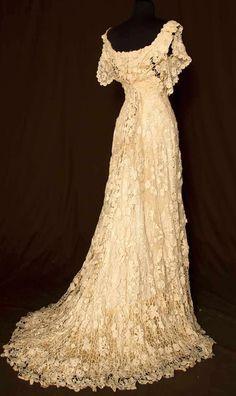 Trained Irish crochet wedding gown, ca. 1900.
