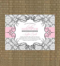 Printable Baby Shower Invitation - Girls Gray and Pink Damask Baby Shower Invitation - Damask Shower Invitaiton on Etsy, $15.00
