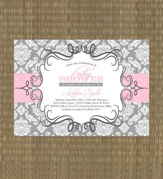 Printable Baby Shower Invitation  Girls Gray by EThreeDesignStudio, $15.00