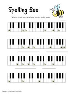 Who likes spelling bees?? Here are three Spelling Bee worksheets: one for the treble staff, one for the bass staff, and one that uses only keyboard notes for beginners who have recently learned their letter names. ...
