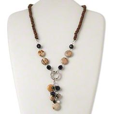 Necklace, silver-finished steel/acrylic/silver-coated plastic/wood/picture jasper (natural/dyed), brown and black, 16mm puffed flat round, 20 inches with 2-inch extender chain and lobster claw clasp. Sold individually.
