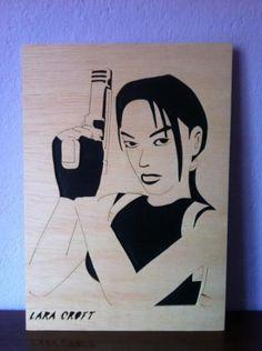 Lara croft, tomb raider, cuadro de madera