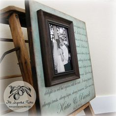 Personalized Custom Picture Frame 16x16 LOVE IS PATIENT Wedding Anniversary Love Father Mother Parents Shower Quote Verse Song Vows Gift on Etsy, $75.00