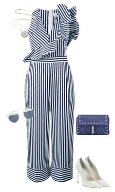 """""""Striped Jumpsuit"""" by marialibra ❤ liked on Polyvore featuring MSGM, Christian Dior, Fontana Milano 1915 and Kakao By K"""