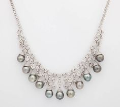 Tahitian Black Pearl Diamond Fringe Necklace | From a unique collection of vintage drop necklaces at https://www.1stdibs.com/jewelry/necklaces/drop-necklaces/
