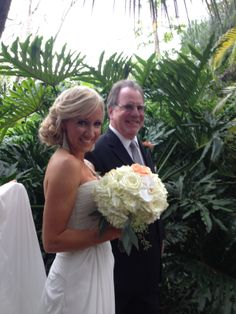 The beautiful bride and her father.  A destination wedding all the way from the Australia.  Real Wedding: Cooper Estate Miami
