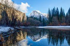 California Home Decor, Yosemite Photography, California Winter Scene, Half Dome Reflection, Snowy Sierra Nevada National Park,…