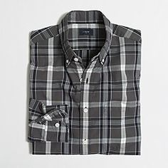 Factory tall washed shirt in medium plaid