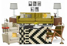 Aztec rug, mid century modern furniture, greens, yellows & neutrals...I could see something like this for our living room with white/pale gray walls & bookcases filled with books & decorative items.