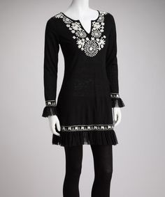 Take a look at this Black & White Ruffle Tunic by Young Threads on #zulily today!