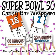 Super Bowl Candy bar wrappers featuring the Broncos and the Panthers from the candy bar wrapper membership club at KandyKreations.net