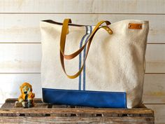 COTTON TOTE BAG /  Blue French  tote bag  Striped with Mustard Leather strap / Market tote Bag / Eco friendly