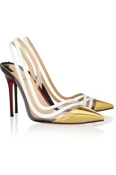 Heel measures approximately 100mm/ 4 inches Gold, black and white patent-leather Transparent PVC panels, pointed toe, signature red leather sole Slingback strap Come with replacement heel tips Designer color: Version Gold