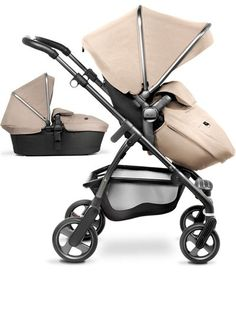 The Silver Cross Wayfarer pram system, with pushchair and carrycot. Shown in Sand with the graphite chassis.