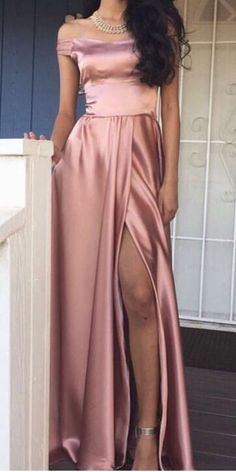 2018 prom dress, pink long prom dress, off the shoulder prom dress, simply prom dress with side slit