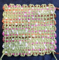 Pin loom weaving with beads