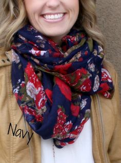 These gorgeous floral infinity scarves are sure to be your favorite accessory this Spring. Perfect tocompliment any outfit, they are great paired with a cardigan, jacket, or simple tee.Made of lightweight viscose fabric and available in 9 stunning colors. COLORS: Eggplant Blue Pink Navy Grey Cream BlackLilac Burgundy