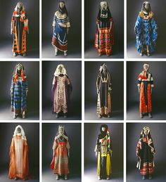 Typology of Saudi Arabian dress. From the Mansoojat Foundation online museum. Islamic Clothing, Medieval Clothing, Historical Clothing, Middle Eastern Clothing, Middle Eastern Fashion, Arab Fashion, Folk Fashion, Sporty Fashion, Muslim Fashion