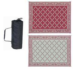 6' x 9' Reversible Outdoor Area Rug Garden Mat in Burgundy Red and Beige