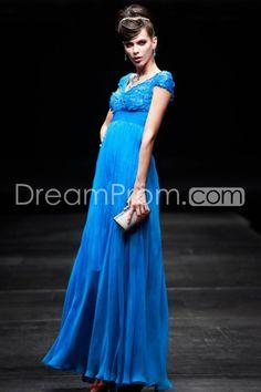 Fantastic V-Neckline Pleats Empire Evening Dresses