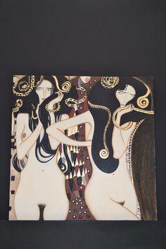 """Particolare dell'opera """"Fregio di Beethoven"""" di Klimt."""