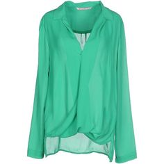 Sh Collection Blouse ($42) ❤ liked on Polyvore featuring tops, blouses, green, collar top, green long sleeve blouse, green top, long sleeve tops and slit top