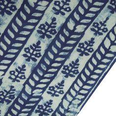 Sold-by-yard-Indigo-blue-Hand-Block-Print-Cotton-Fabric-Dressmaking-Sewing-Tie05 #Handmade