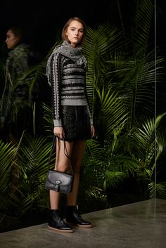 Maiyet | Pre-Fall 2016 | 07 Monochrome striped long sleeve sweater and black quilted mini skirt