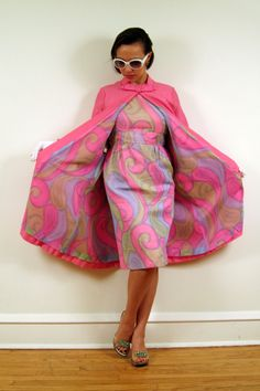 Vintage 1960s Party Dress and Swing Coat Set in Pink and Pastel Candy Swirl Paisley Print.