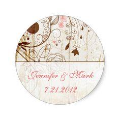 Vintage Shabby Chic Floral Wedding Sticker