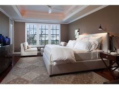 Brown and white Master bedroom - Olde Naples - coffered ceilings