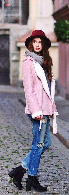 cute pink suede shearling jacket