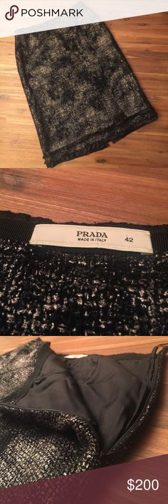 prada skirt with slit in back! cute and fashionable prada skirt! adorable split in back. sliverish gray color. great used condition. it says size 42, i believe it is in european sizing. zipper on side. accepting offers! ask any questions you have. Prada Skirts