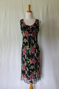 LAPIS Black and Pink floral 1920's 1930's Inspired Sleeveless Knee Length 100% Silk Day Dress Sz Medium by LePetiteLavoir on Etsy