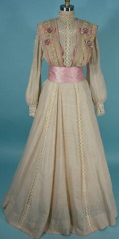 1904 Ecru Cotton 2 piece Dress with Steel Cut Velvet Trim Bodice Decorations.  Cute little velvet bows. :)