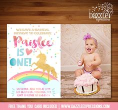 Printable Watercolor and Gold Unicorn Birthday Invitation | Rainbow and Gold Foil | Horse | Pony | Magical | Girls Birthday Party | DIY | Digital File | Available for a Baby Shower, just ask! | Matching Printable Party Package Decor | Banner | Cupcake Toppers | Favor Tag | Food and Drink Labels | Signs |  Candy Bar Wrapper | www.dazzleexpressions.com