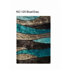 Living Shag collection 120 Blue Gray 4' x 6' size shaggy area rug.