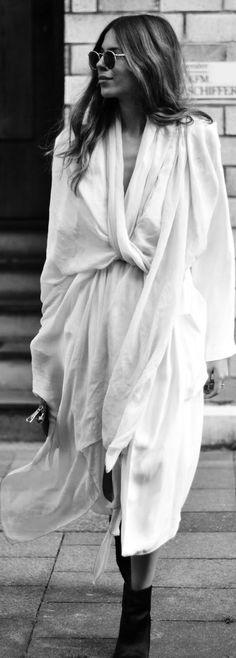White Silk Oversize Scarf by MAJA WYH