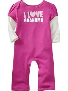 """Ruffle-Bottom """"I Love"""" One-Pieces for Baby 