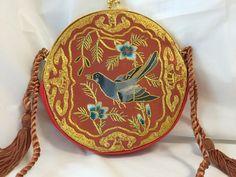 Vintage Oriental Embroidered Evening Bag Red Satin, Orange, Gold, Blue Bird…
