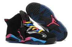 17ad1ed0a64e62 Cheap Air Jordan 6 GS Pink Flash Marina Blue Triple Black 543390 050 Size 9  Cheap